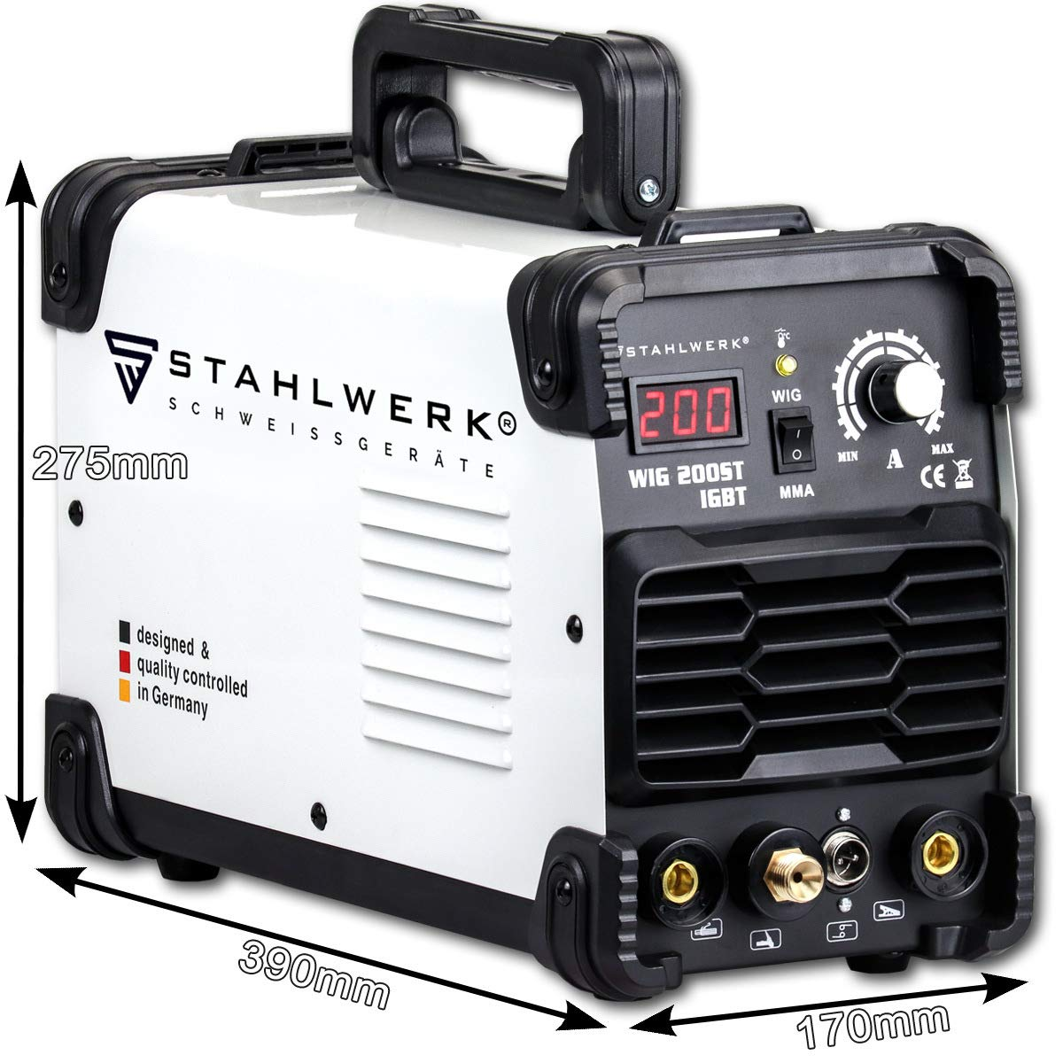 MMA//ARC inverter welder with 200 Ampere,5 years warranty Welding of steel STAHLWERK DC TIG 200 ST IGBT stainless steel and more Combined TIG