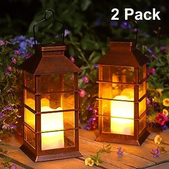 Linterna Solar Exterior Lámpara de Jardín, juego de 2, IP44 Impermeable Luces LED Parpadeantes Sin Llama Plástico Exterior Decorativa Iluminación para Mesa Patio Festival Navidad: Amazon.es: Iluminación