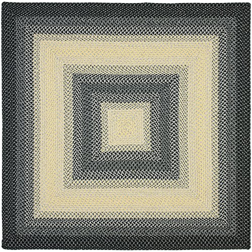 Safavieh Braided Collection BRD311A Hand Woven Black and Grey Square Area Rug (8' Square) - 8' Cotton Braided Rug