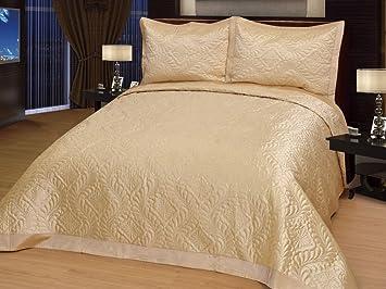 couvre lit 250 Diamant doré/couvre lit de luxe en satin élégante couvre lit 250 x  couvre lit 250