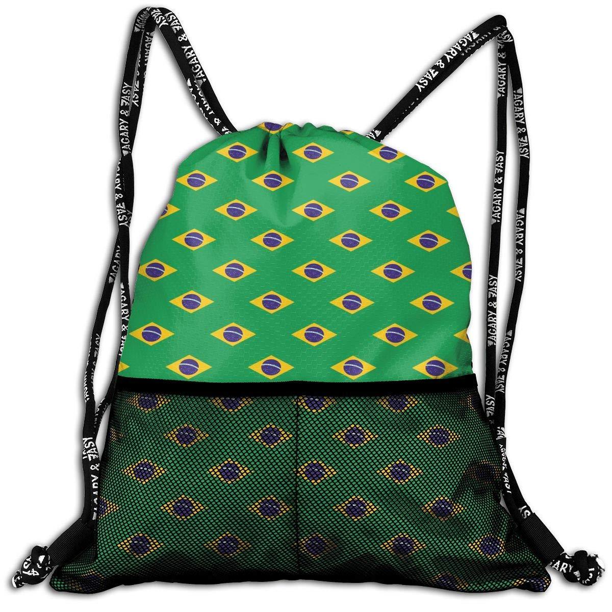 Hipiyoled Brazil Flag Pattern Durable Sport Drawstring Backpack for School Soccer Yoga