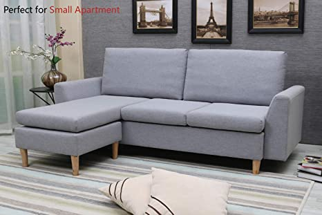 Enjoyable Sectional Sofa L Shape Sectional Couch With Reversible Chaise Couches And Sofas With Modern Linen Fabric For Small Space Grey Blue Creativecarmelina Interior Chair Design Creativecarmelinacom
