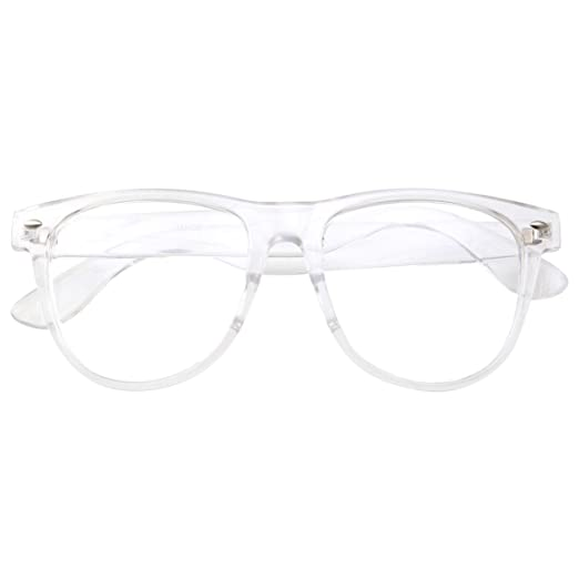 Amazon.com: Mens Large Non Prescription ALL Clear Frame Glasses ...