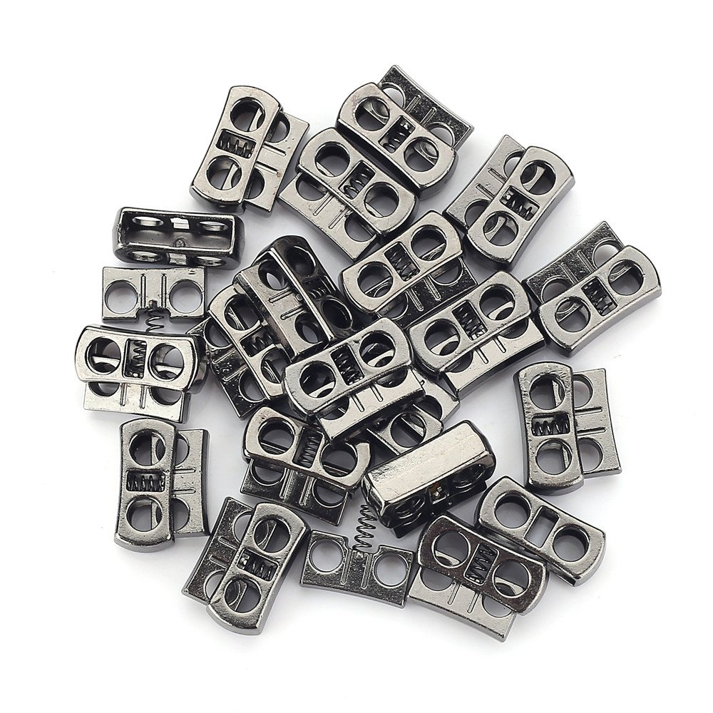 New Band Metal Double Holes Cord Locks Drawstring Buttons Rope Clamp Spring Stopper Toggle Clasp Buckle Pack of 20 NV