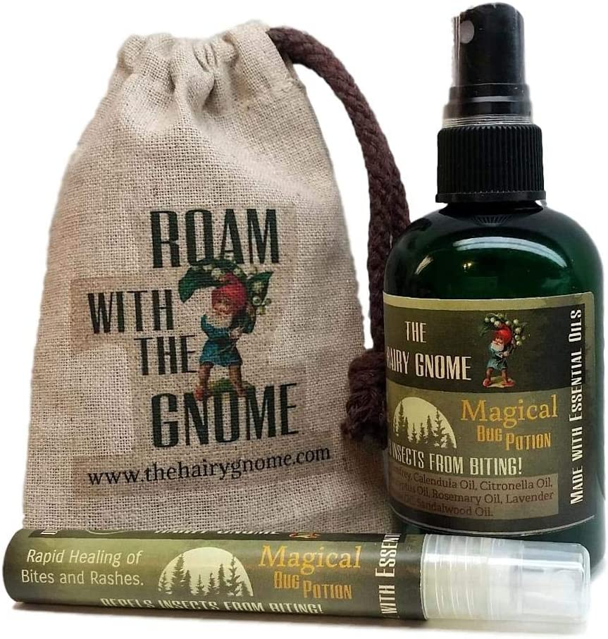 The Hairy Gnome- Magical Bug Potion. Repels Insects and Aids in Rapid Healing of Bites and Rashes. Bug Offending Spray! DEET Free. Organic, All Natural Safe Ingredients. (Large 4 oz. Bottle)