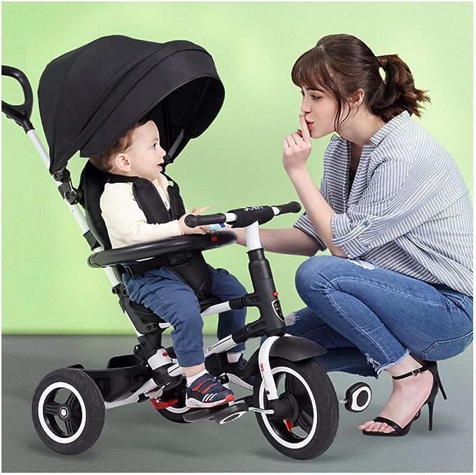 JYY Respaldo reclinable Kids Trike - Triciclo Plegable para niños - 4 en 1 Trike 3 Ruedas de Bicicleta de bebé con Mango de Empuje, black-109 * 50 * 100cm: Amazon.es: Hogar