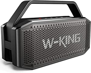 Bluetooth Speaker, W-KING 60W Super Punchy Bass, Crisp Loud, IPX6 Waterproof, Bluetooth 5.0, 40H Playtime, Portable, 12000mAh Battery Power Bank, TWS, NFC, Mic, Outdoor, Party, Camping