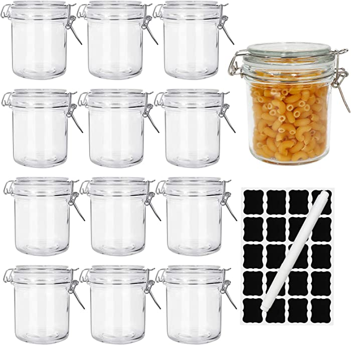 8oz Airtight Jars,Spice Jars, Leak Proof Storage Container Jar,Glass Food Jars with Labels & Chalkboard Pen and Replacement Silicone Gaskets, Set of 12