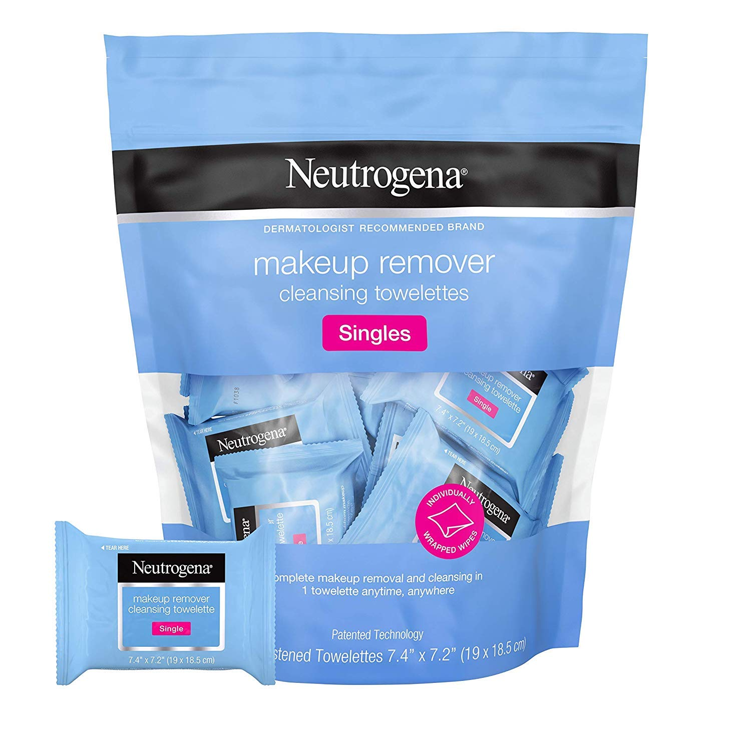 Neutrogena Makeup Remover Cleansing Towelette Singles, Daily Face Wipes to Remove Dirt, Oil, Makeup & Waterproof Mascara, Individually Wrapped, 20 ct (Pack of 2) by Neutrogena
