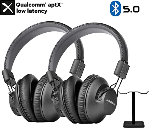 Avantree 2 Pack Bluetooth 5.0 Over Ear Headphones with Metal Dual Headphone Stand for Watching TV, aptX Low Latency, Wireless Headset with Mic for Home Office PC Computer Phones Calls – AS9PA Set