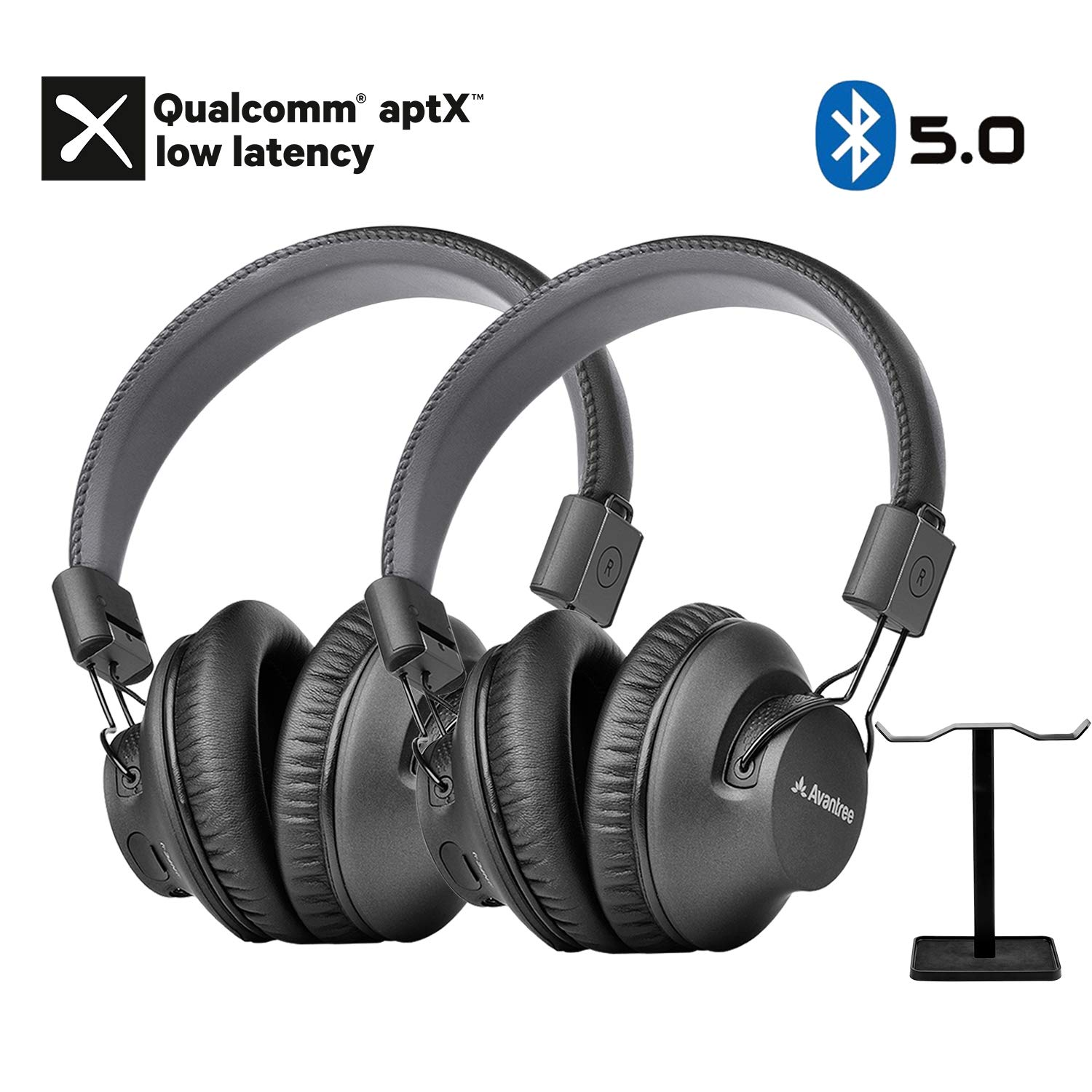 Avantree 2 Pack Bluetooth 5.0 Over Ear Headphones with Metal Dual Headphone Stand for Watching TV, aptX Low Latency, Music Audio Sharing, Compatible with Avantree Transmitters, PC, Phones - AS9PA Set