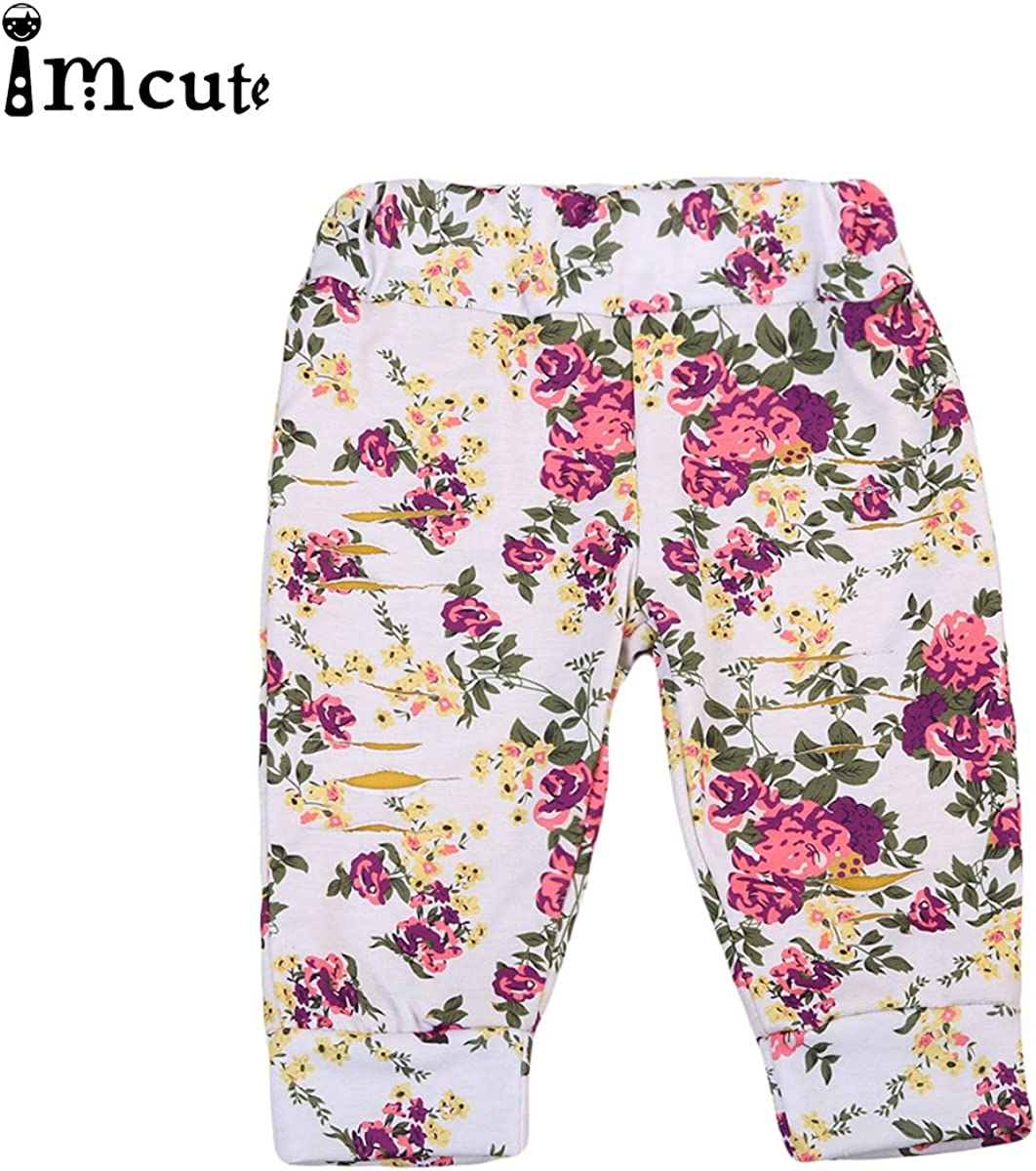 Newborn Baby Grils 2 Layers Floral Destroyed Ripped Pants Leggings