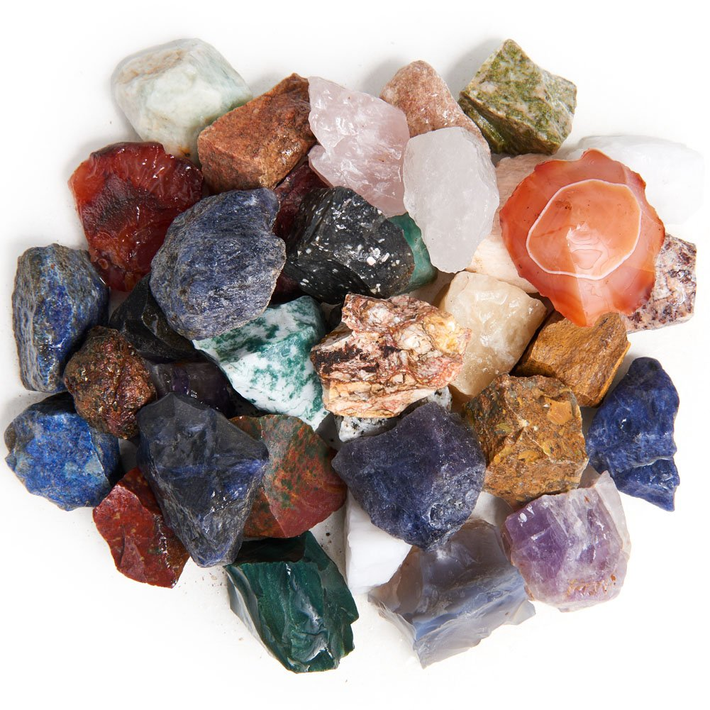 Digging Dolls 8 lbs Natural India Rough Stone Mix - Made with Over 30 Types of Indian Stones - Large Size - 1'' to 1.5'' Average - Raw Rough Rocks for Arts, Crafts, Tumbling, Gem Mining, Wire Wrapping!