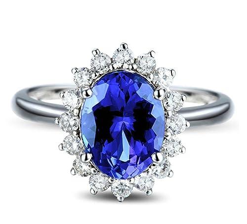 Epinki 18k Oro Anillos para Mujer óvalo Flores Anillo Propuesta Matrimonio Anillo de Diamante Azul con