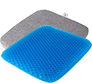 Remedic Gel Seat Cushion, Double Thick Office Chair Seat Cushion with Non-Slip Cover Breathable Honeycomb for Sciatica & Tailbone Pain Relief , Machine Washable Incontinence Pad and Fabric Cover