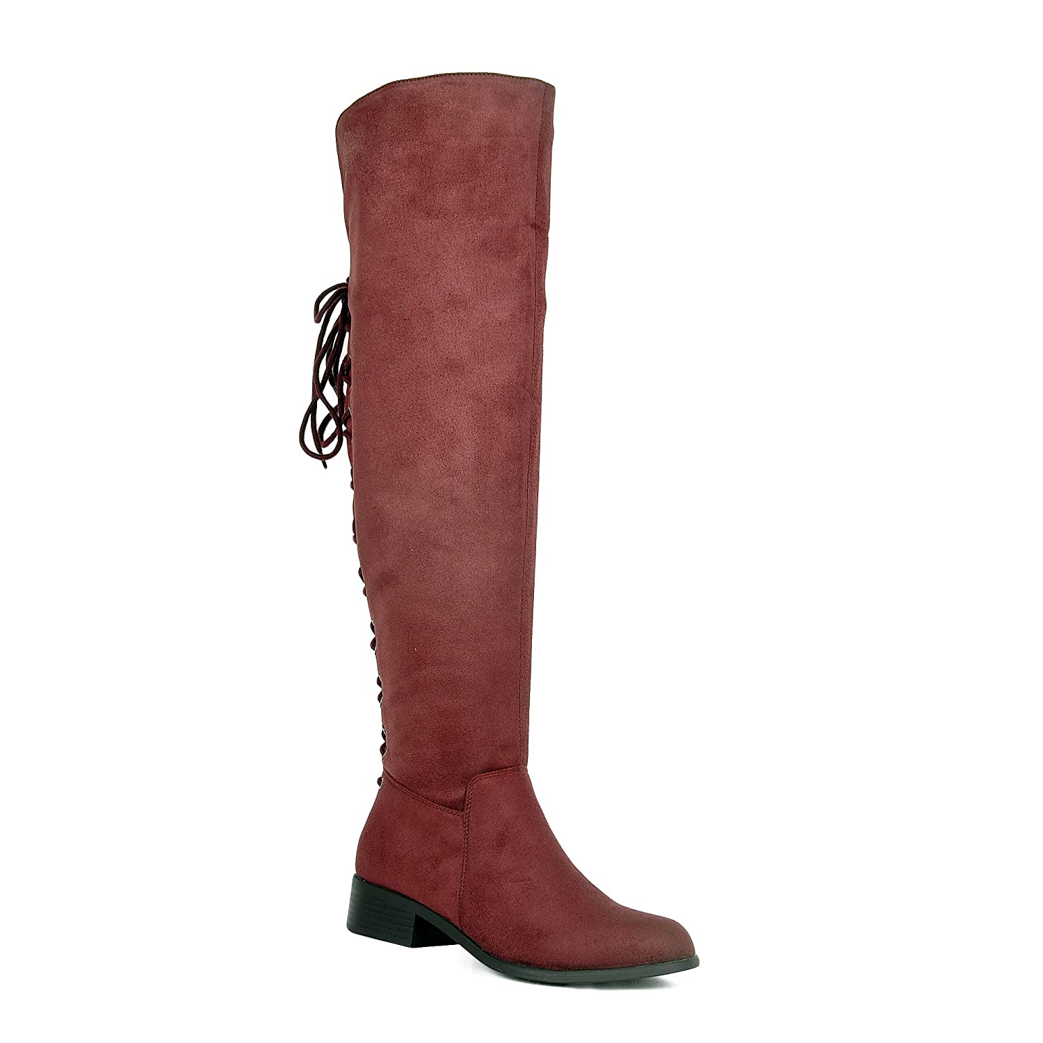 Women's Burgundy Faux Suede OTK Back Corset Lace-up Fold Over Cuff Flat Heel Boots - DeluxeAdultCostumes.com