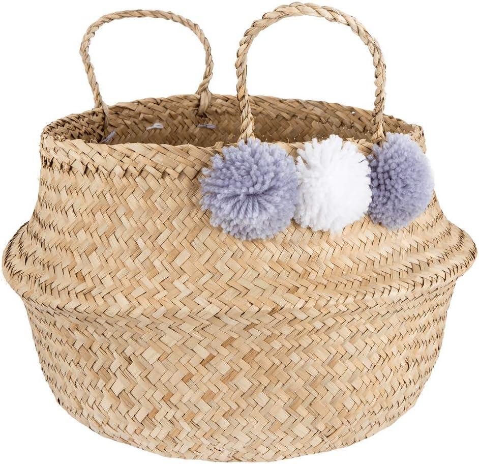 Sass /& Belle Aufbeahrungskorb Bast mit Bommeln Flieder Natur BASK007 Boho ca L30 x H30 cm Basket Storage Pom Pom Grey Seagrass