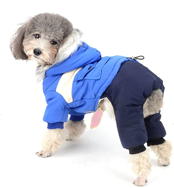 SELMAI Doggie Winter Coat Sweater Jumpsuit Fleece Lined Cotton-Padded Cozy Dog Jacket with Denim Pants Dog Winter Pajamas for Small Dog Cat Puppy Doggie Pet Boys Chihuahua Clothes Blue S