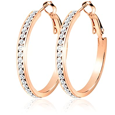 30mm Cubic Zirconia Rose Gold Hypo Allergenic Hoop Earrings Womens
