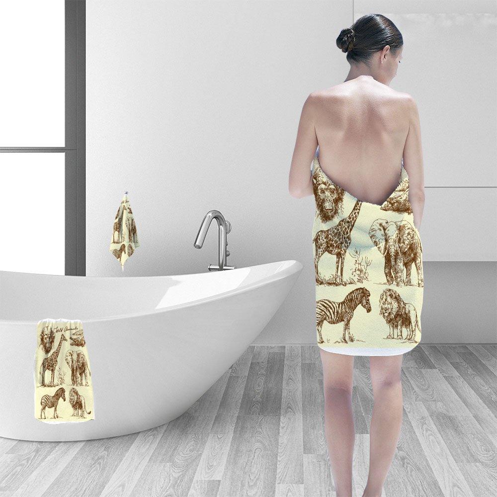 Nalahomeqq Hand towel set wild animals personality printPolyesternon-mildewpattern custom made19.7''x19.7''-13.8''x27.6''-31.5''x63''