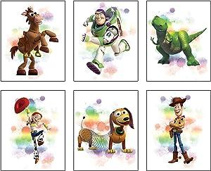 "Watercolor Graffiti Splash Toy Story Art Prints Set of 6 (8""X10""Canvas Picture) Modern Minimalist Nursery Wall Poster Kids Boys Birthday Gift Game Room Decor No Frame"