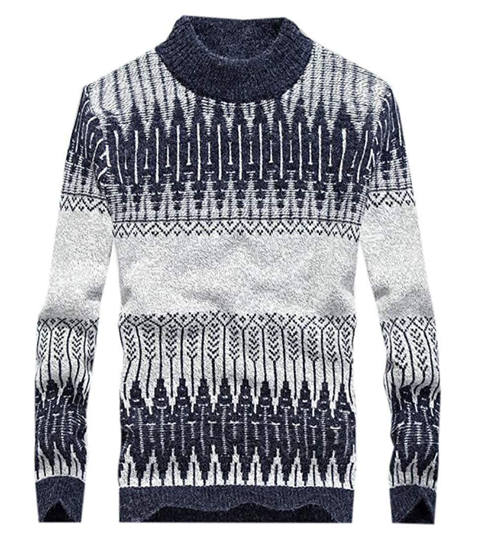 Jotebriyo Men Print Turtleneck Stylish Knitted Long Sleeve Pullover Sweater