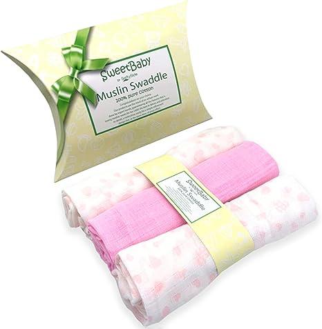 SweetBaby - Juego de 3 mantas de muselina para recién nacido de ...