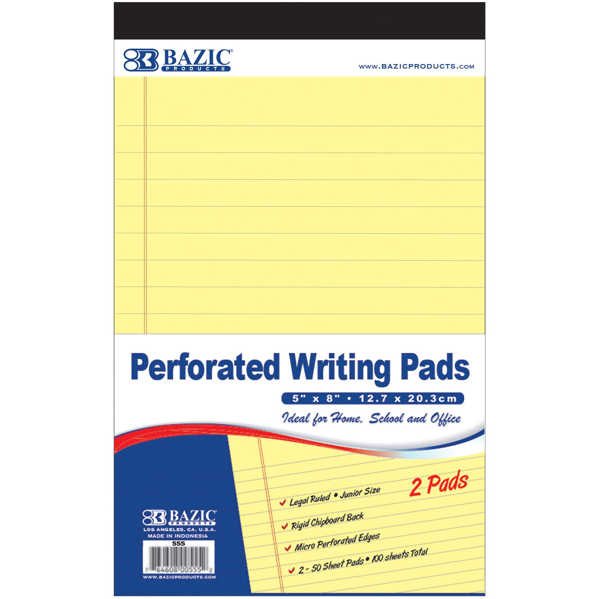 BAZIC 50 Ct. 5'' X 8'' Canary Jr. Perforated Writing Pad (2/Pack) (Case of 24) by B BAZIC PRODUCTS