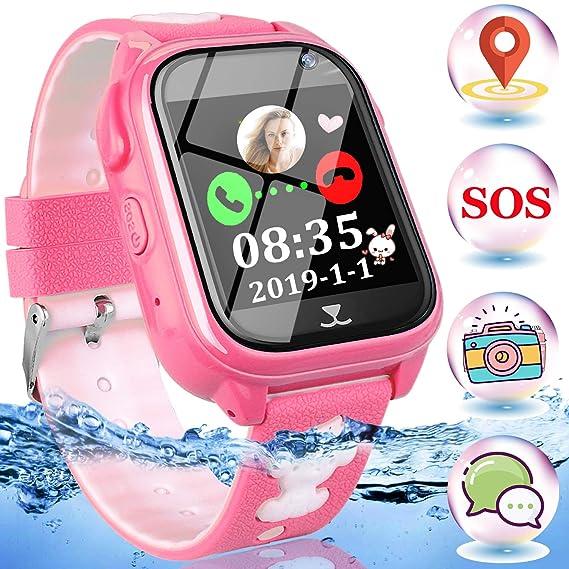 Kids Phone Smart Watch-IP68 Waterproof Kids GPS Tracker Smartwatch for 3-12 Year Touch Screen SOS Camera Game Anti-Lost Class-Mode Watch Electronic ...