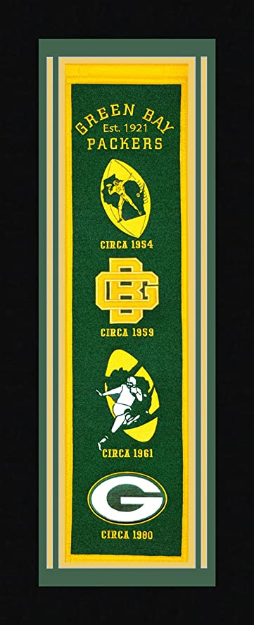 Amazon.com : Green Bay Packers - Deluxe Framed Wool Heritage Banner ...