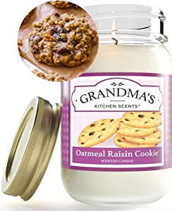 Oatmeal Raisin Scented Candles for Home   Non Toxic Long Lasting Soy Candles   Delicious Scent   Large 16 oz Mason Jar   Hand Made in The USA