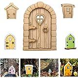 ZKU DIY Miniature Fairy Gnome Home Window and Door for Trees, DIY Yard Art Garden Sculpture Decoration Decor, Wooden Doors an