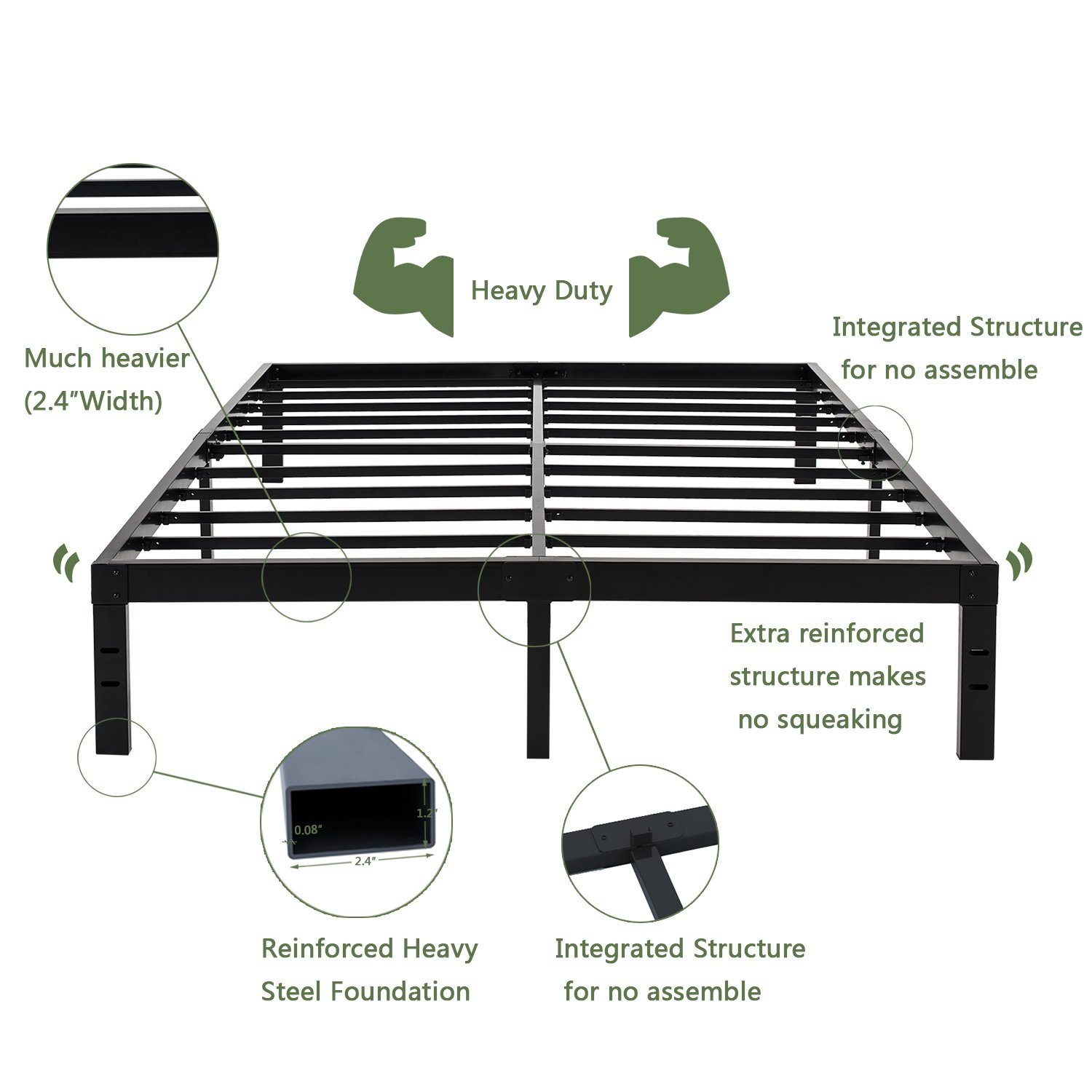 14 Inches Steel Slat Platform Bed Frame / Heavy Duty and Easy Assembly Mattress Foundation / Noise-Free Box Spring Replacement Full by Homus (Image #3)