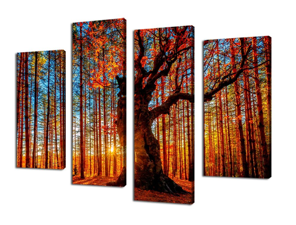 Amazon.com: Canvas Wall Art Red Tree Branches Sunset Forest Nature Pictures  Modern Artwork Framed Ready To Hang For Kitchen Office Home Decoration:  Posters ...
