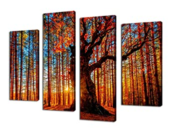 framed office wall art. canvas wall art red tree branches sunset forest nature pictures modern artwork framed ready to hang office