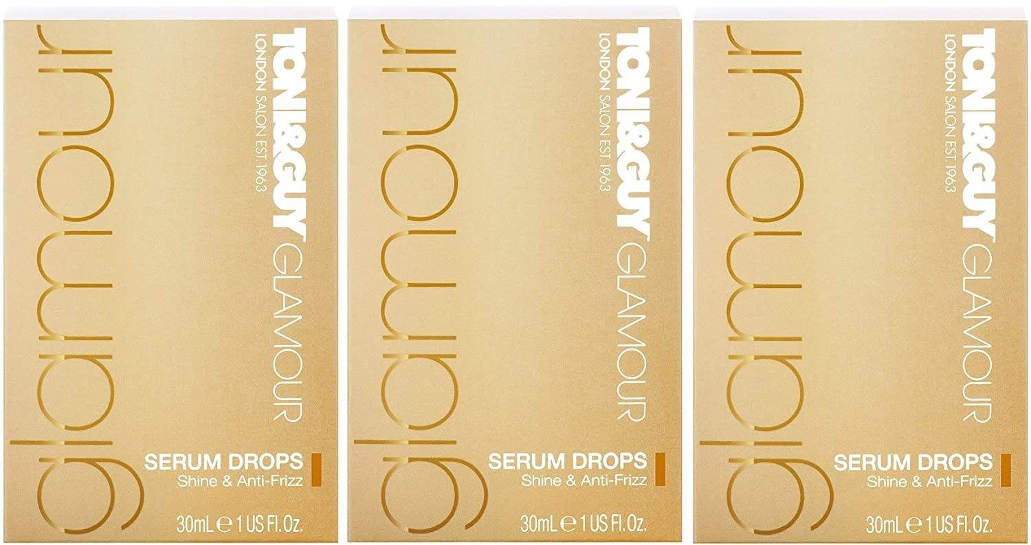3 x 30ml Toni&Guy Glamour Serum Drops Toni Guy Shine & Anti-Frizz Toni & Guy