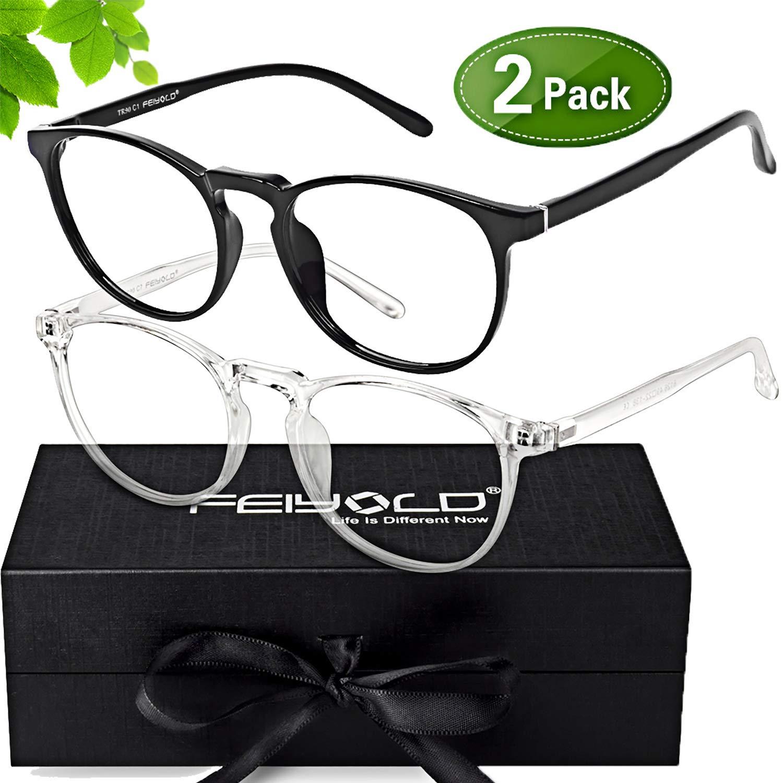 FEIYOLD Blue Light Blocking Glasses Women/Men for Computer Use,FDA Approved Anti Eyestrain Gaming Glasses,Cut UV400 Transparent Lens(2Pack)