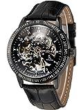 Alienwork IK mechanische Automatik Armbanduhr Skelett Automatikuhr Uhr Herren Uhren sport Zeitloses Design Leder schwarz 98226-16