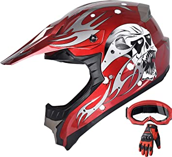 Adult Red Motocross Helmet Combo With Red Gloves Goggles