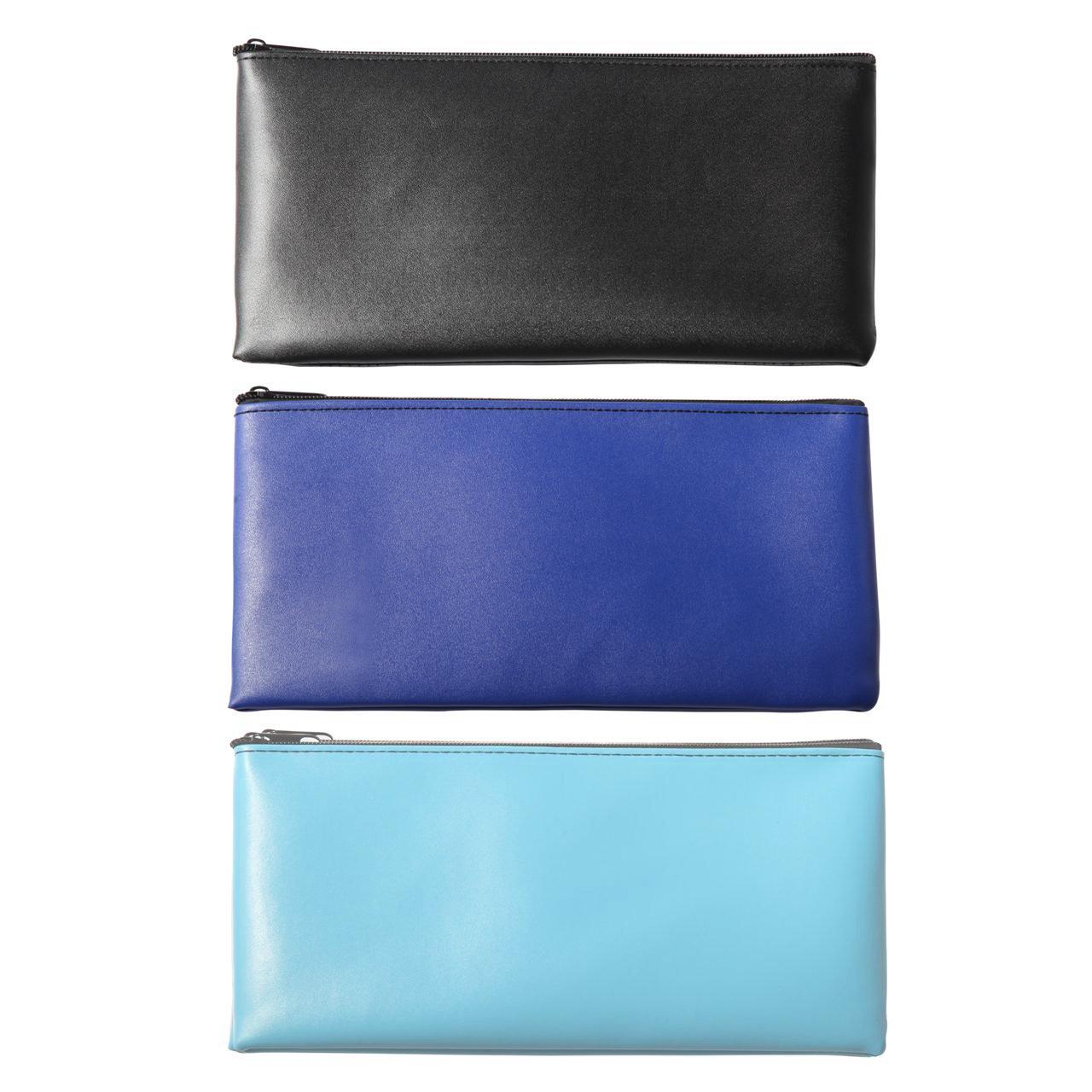LUNASMILE Leatherette Securit Bank Deposit Bag/Check Wallet/Utility Zipper Coin Bag, 11 x 6 inches Check Bag, 3 Pcs(Mix)