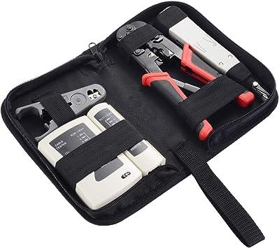 Network Cable Tester Tool Crimper Set RJ45 LAN Crimping Wire Plier Cat5e Cat6 US