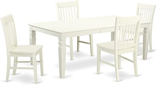 LGNO5-LWH-W 5 Piece Dining Room Set With A Single Logan Dinning Table And 4 Wood Seat Kitchen Chairs Finished In A Elegant Linen White Color.