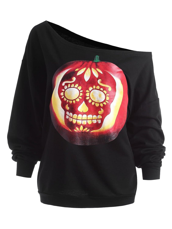 DressLily Women's Pumpkin Print Skew Collar Halloween Top Casual Sweatshirt Plus Size