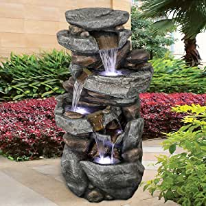 SunJet 5-Tier Outdoor Water Fountain with LED Lights - 40in Rock Water Fountain for Home Garden, Yard, Patio, Deck Decor - Soothing Tranquility Floor-Standing Fountain