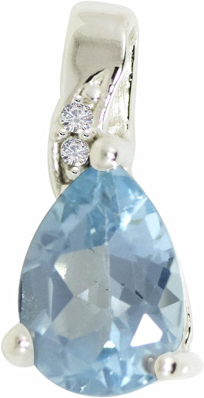 Shine Jewel Colgante de plata de ley 925 con piedras preciosas de topacio azul y blanco para mujer