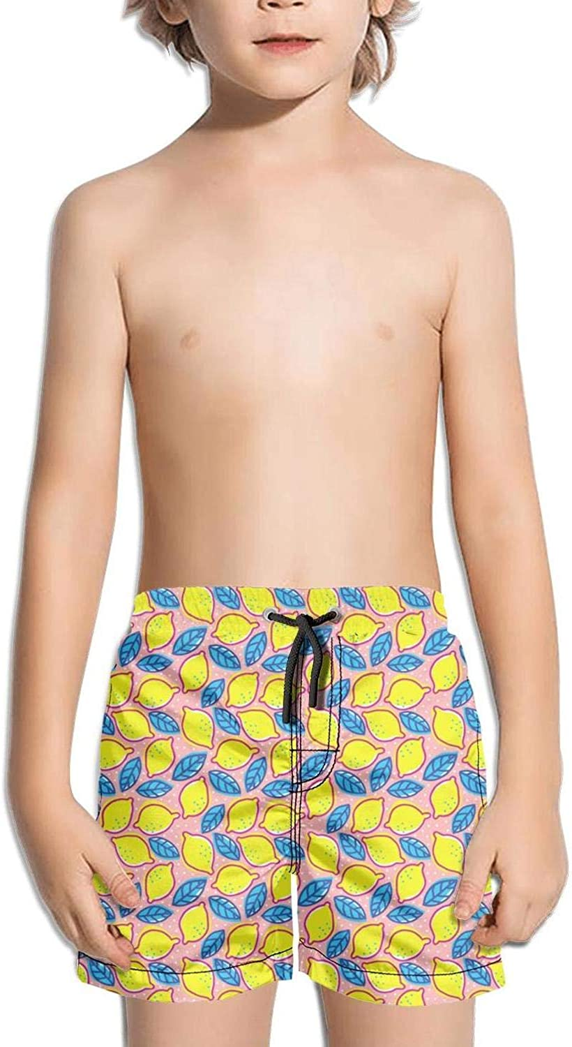 SYBING Retro Pattern with Lemon Boys Novelty 3D Printed Waterproof Surfing Hawaiian Beach Surfing Board Shorts