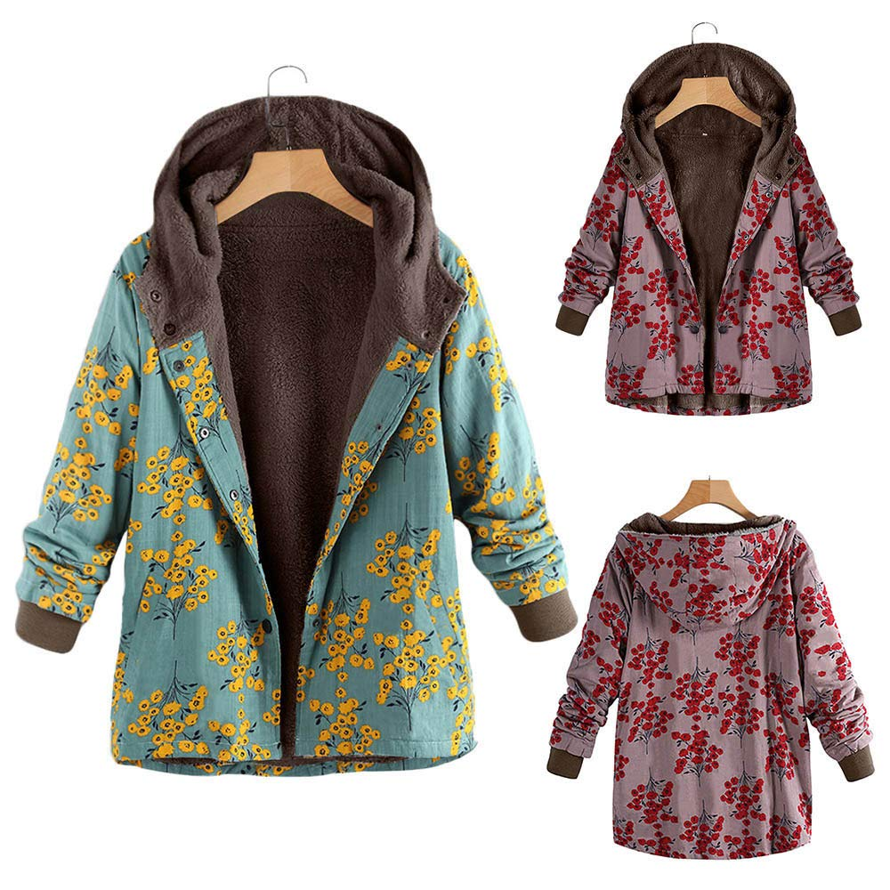 Amazon.com: YKARITIANNA Womens Floral Printed Winter Warm Outwear Floral Print Hooded Pockets Vintage Oversize Coats: Clothing