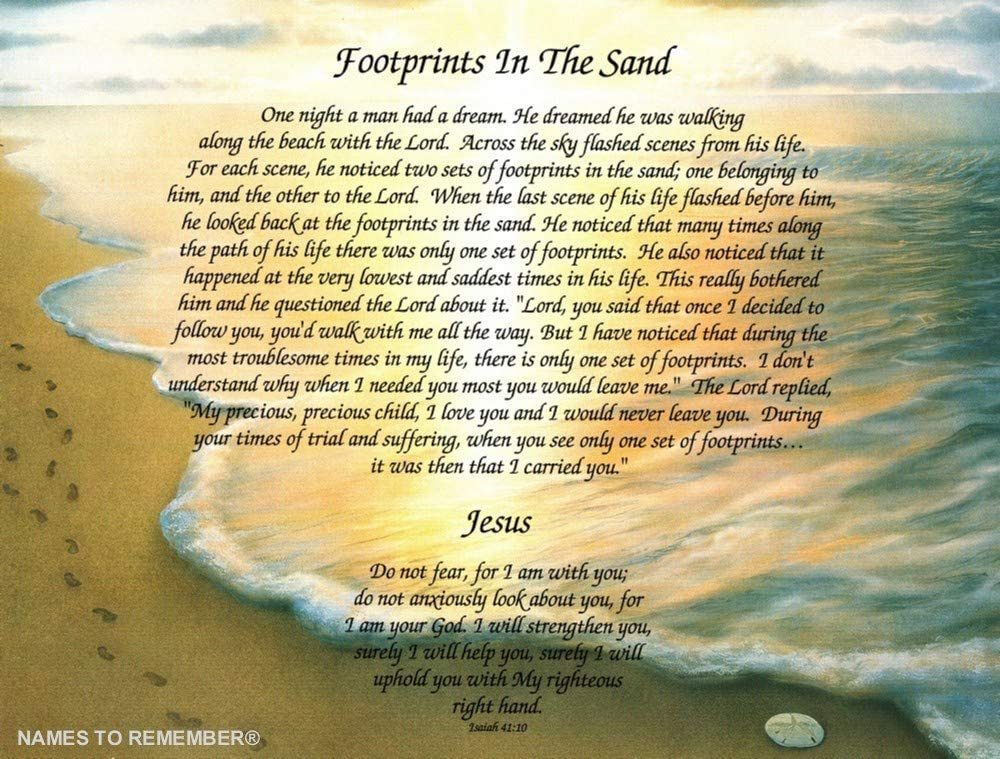"""Amazon.com: Poetry Gift """"Footprints in The Sand"""" on Footprints 2 Background: Home & Kitchen"""