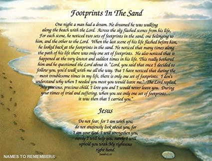 graphic regarding Footprints in the Sand Poem Printable Version identified as Poetry Reward \