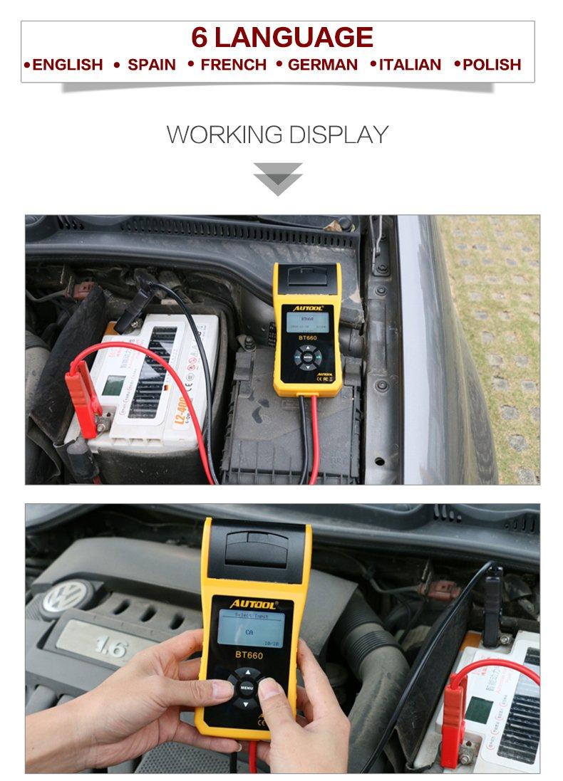Autool BT660 Battery Conductance Tester 12V/24V BT-660 Auto Battery Testers Automotive Diagnostic Tools For Heavy Duty Trucks, Light Duty Truck, Cars